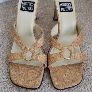Mootsie Tootsie Tan Cork Sandals, size 8.5